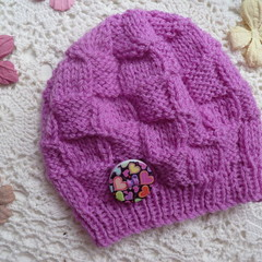 Baby girl's cosy beanie with block pattern, fits 3 - 6 months, 8-ply wool