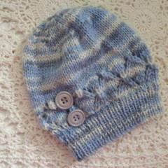 Hand-knitted baby boy's beanie w button detail; fits NB; 4-ply Australian wool