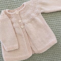 Pink  Cardigan - Size 3-6 months Handknitted in a wool silk blend