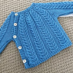 Blue cabled jumper - size 0-3 months - organic wool cotton blend