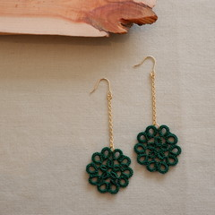 Tatting lace earrings (flower with chain)