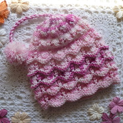 Baby girl's lacy beanie with pom pom; fits 9 - 18  months;  8-ply acrylic