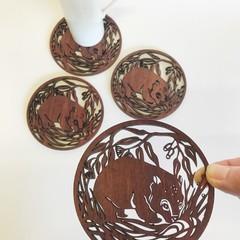 Wombat jarrah coasters