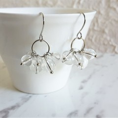 Minimal Modern water drop style Clear round Glass bead cluster earrings , No 2