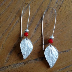 Recycled 99.9% Silver Leaf and Red Bead Earrings