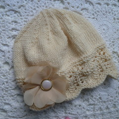 Baby girl's lacy beanie with chiffon flower; fits 3 - 6 months;  4-ply wool