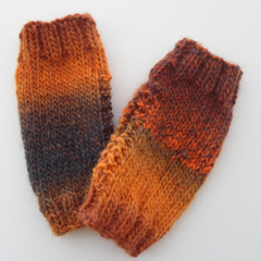 Handwarmer Tube Mitts in Orange For Adults