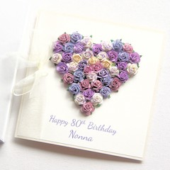 Personalised Birthday Card, Purple Roses, Gift Boxed, Card For Her, For Mum