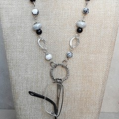 BLACK GREY EYE GLASS CHAIN, GLASSES NECKLACE, SPECTACLE HOLDER, CHAIN NECKLACE