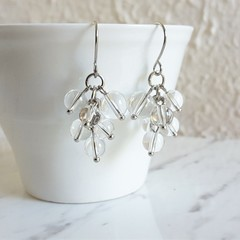 Minimal Modern water drop style Clear round Glass bead cluster earrings , No 3