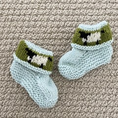 Aqua sheep  booties - Hand knitted in Pure Wool