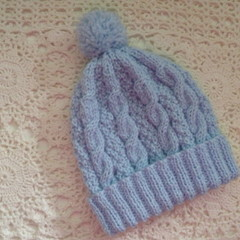 Baby's hand-knitted cable-knit beanie with pom pom to fit 3 - 6 mths; 4-ply wool