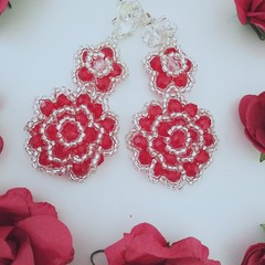 Red crystal beaded flower earrings