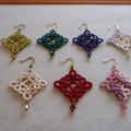 Tatting lace earrings (diamond shape with Swarovski beads)