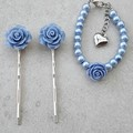 BLUE FLOWER HAIR CLIP AND GIRLS BLUE FLOWER  PEARL BRACELET SET