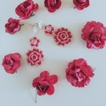 Red crystal beaded flower earrings