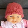 Baby girl's beanie w roll brim & chiffon flower; fits 3-6 months, 8-ply wool