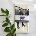 Tasmanian devil screen printed linen tea towel