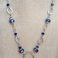 SILVER BLUE EYE GLASS CHAIN, GLASSES NECKLACE, SPECTACLE HOLDER, CHAIN NECKLACE