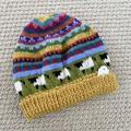 Yellow' Sheep Beanie - to fit approx size 4-8 years -hand knitted