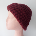Rib Beanie in Dark Red For Adults