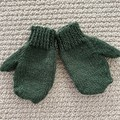 Green  Mittens Size 3-4 years - hand knitted
