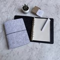 Silver + Ash Dark Grey A5 Felt Diary Notebook w Elastic Closure 6 Ring Binder
