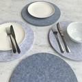 Felt Round Placemat Heat Mat Trivet Coaster Silver + Grey
