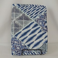 Quilted Fabric Notebook Cover  -  Blue Patchwork (Design 2)