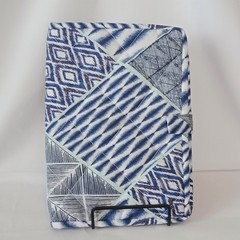Quilted Fabric Notebook Cover  -  Blue Patchwork (Design 1)