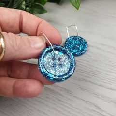 Teal Holographic Glitter - Button Hoop Dangle earrings