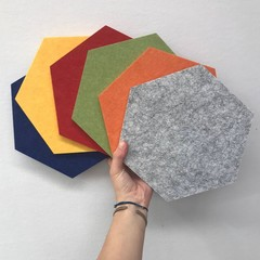Acoustic Felt Hexagon Pin Board Heat Mat Trivet Coaster Wall Tile Art