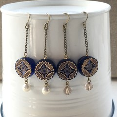 Navy blue beads earrings