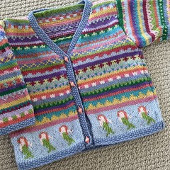 Blue 'Mermaid'Cardigan - Size 1-2 years- Hand knitted