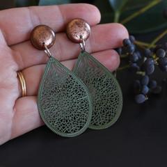 Earrings. Resin stud (varied colours)+ olive green teardrop dangles