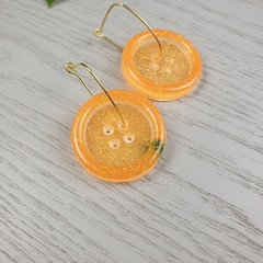 Orange Sparkle Glitter - Button Hoop Dangle earrings