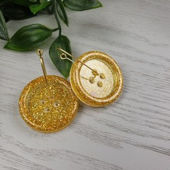 Gold Sparkle Glitter - Button Hoop Dangle earrings