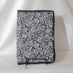 Quilted Fabric Notebook Cover  -  Daisies on Black