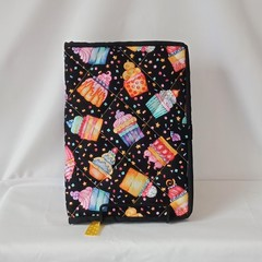 Quilted Fabric Notebook Cover  -  Cupcakes Galore
