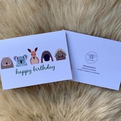 Australian Aussie Animal Kids Children Happy Birthday Card