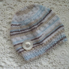 Autumn' hand-knitted baby beanie, fits 0 - 4 months, acrylic