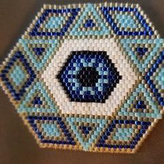 Blue hexagonal pendant