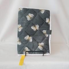 Quilted Fabric Notebook Cover  -  Golden Butterflies