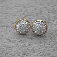 SILVER STUD FAUX DRUZY EARRINGS, GOLD AND SILVER EARRINGS, MOTHER OF THE BRIDE,