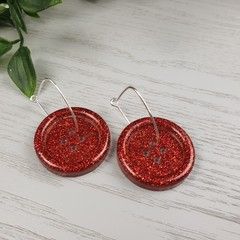 Red Sparkle Glitter - Button Hoop Dangle earrings