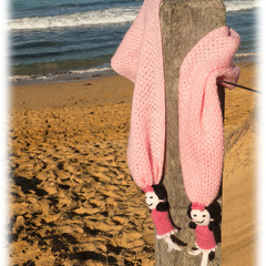 Scarves with dolls, 100% Aussie wool, handmade