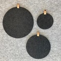 Circle Felt Pinboard with Natural Leather Hanger Ash Grey S M L