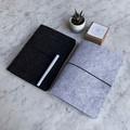 Silver + Ash Dark Grey A5 Felt Diary Notebook w Elastic Closure 6 Ring Binder