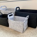 Silver + Ash Grey Felt Storage Box Basket Flat Pack Organising Laundry