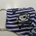 Cloth face mask - Cheeky Pirate Monkey on blue and white stripes